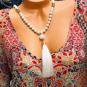 Natasha Gold white tassels beaded necklace NWT